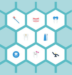 Flat icons artificial teeth dental crown vector