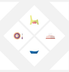 Flat kid set of bathtub tissue toilet and other vector