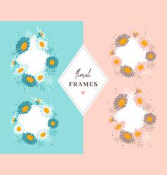 floral frames daisies flowers elegant vector image