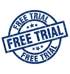 Free trial blue round grunge stamp vector