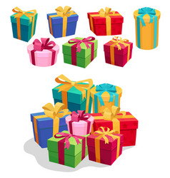 gift boxes set with red ribbon and bow vector image