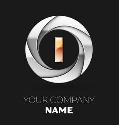 golden letter i logo symbol in the circle shape vector image