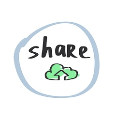 Hand drawn cloud share symbol vector image