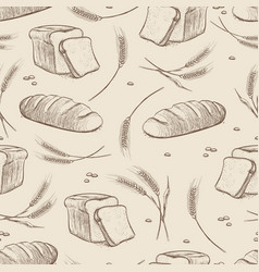 hand drawn wheat and bread seamless pattern vector image
