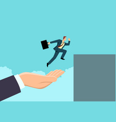 hand helping a businessman to jump higher vector image