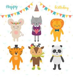 Happy birthday card with cute cartoon animals vector