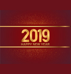 Happy new year 2019 gold color on red background vector