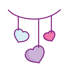 happy valentines day hanging hearts love vector image
