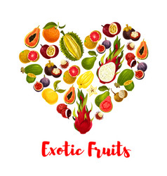 heart with exotic tropical fruits for food design vector image