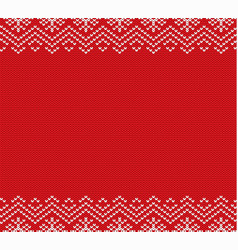 holiday knitted red ornament design with empty vector image