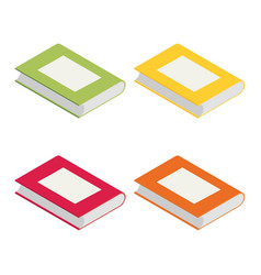 Isometric books in bright colours isolated on vector