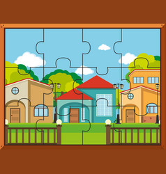 Jigsaw puzzle pieces for houses in village vector