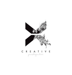 Letter x logo design icon with artistic grunge vector