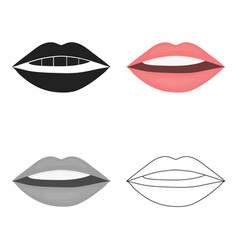 Lips icon in cartoon style isolated on white vector