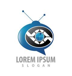 logo concept design ellipse television symbol vector image