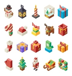 Lowpoly polygonal christmas isometric 3d icons set vector
