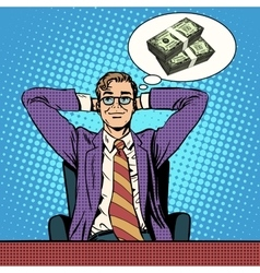 Man dreams about money vector
