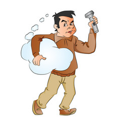 Man holding thought cloud and flashlight vector
