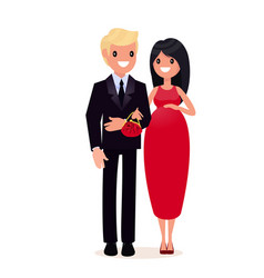 Man in suit and pregnant woman in evening dress vector