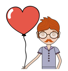 man with mustache and heart balloon in the hand vector image