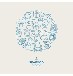 Marine animals seafood thin line icons in circle vector image