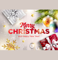merry christmas greeting card happy new vector image