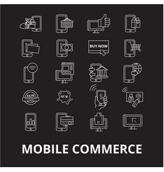 mobile commerce editable line icons set on vector image