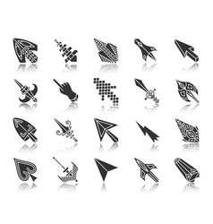 mouse cursor black silhouette icons set vector image