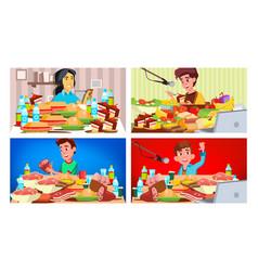 mukbang eating show girl guy eating show vector image