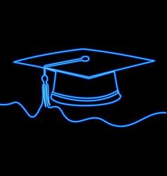 One line drawing academic cap neon concept vector