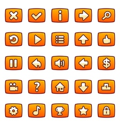 Orange buttons for game interface vector