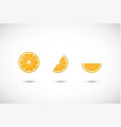 Orange fruit flat icon set vector