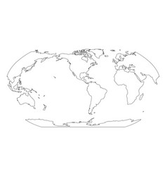 outline map of world americas centered simple vector image