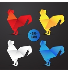 paper origami rooster icon Colorful vector image