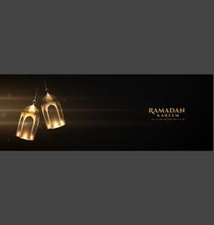 Ramadan kareem lantern banner with text space vector