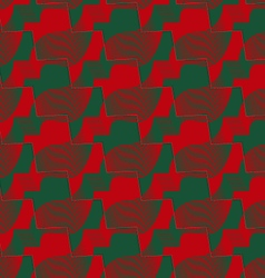 Retro 3d red and green zigzag cut ribbons vector