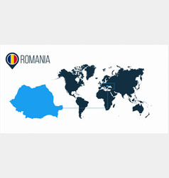 Romania location on the world map for vector