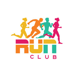Run club logo template colorful emblem with vector