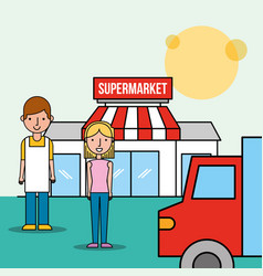salesman and customer woman front supermarket vector image