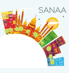 Sanaa yemen skyline with color buildings blue sky vector