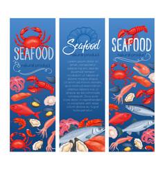 seafood banner fish and shellfish vector image
