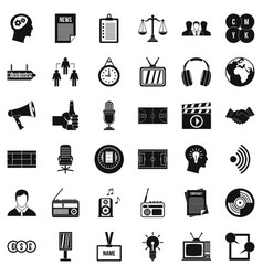 Service lines icons set simple style vector
