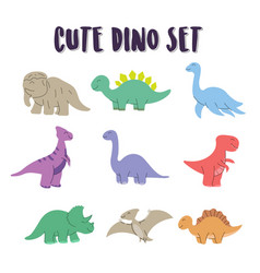 Set element cute dino coloring dino happy vector