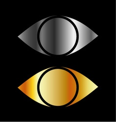 Set of eyes symbols in gold and silver vector