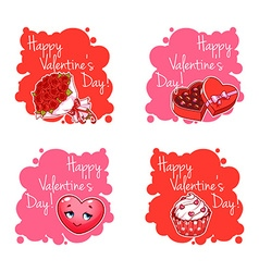 Set of four badge for Valentines Day vector