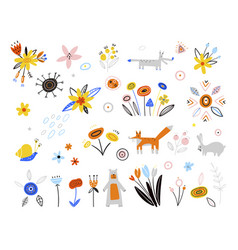 set spring icons in a flat style easter vector image