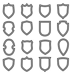 shield shape icons set circuit label signs vector image