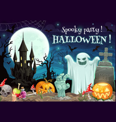spooky halloween party on graveyard moon and ghost vector image