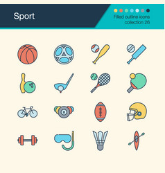 sport icons filled outline design collection 26 vector image