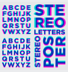 Stereo alphabet stereoscopic letters vector